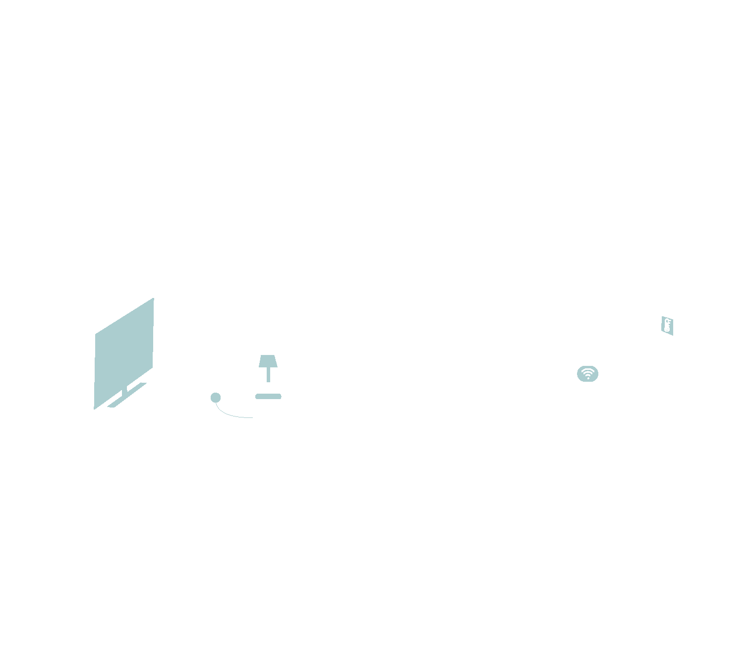 outline of the inside of a house with tv and smart home hub and wifi hub highlighted in green