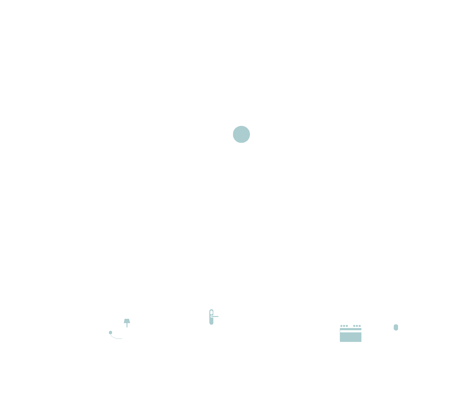 outline of the inside of a house with alarm, cooker, front door handle and smart plug highlighted in green