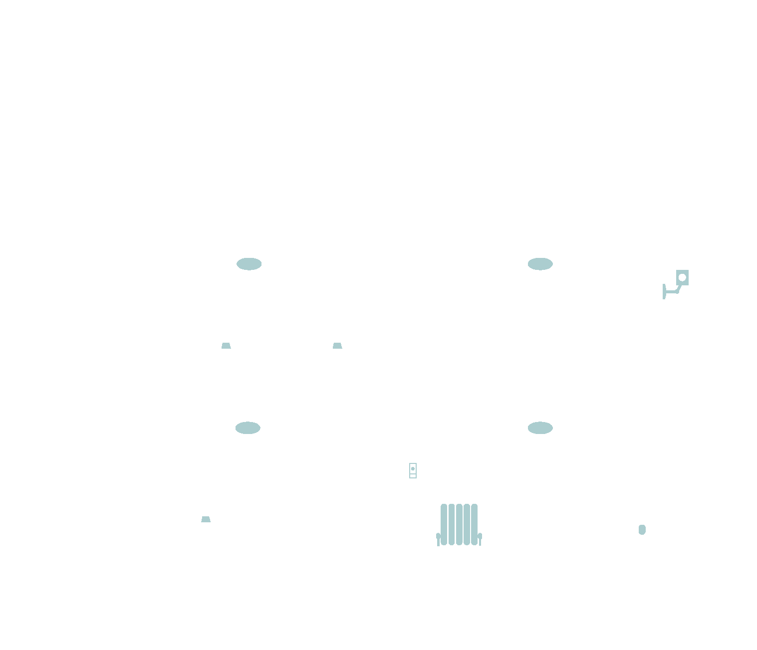 outline of the inside of a house with lightbulbs, radiator, voice assistant, doorbell and outdoor camera highlighted in green