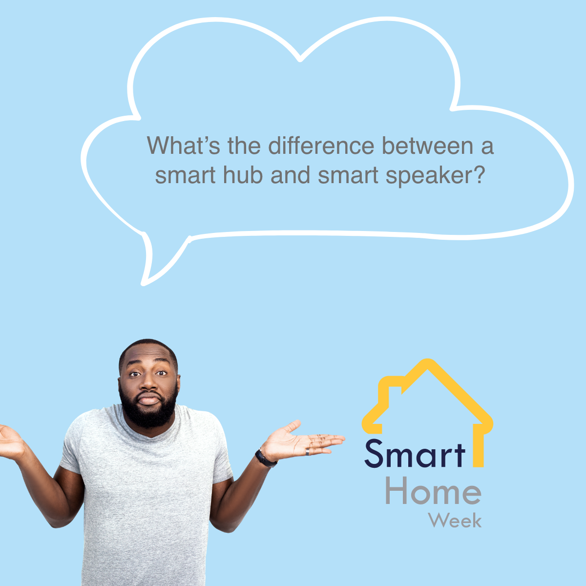 Man looking confused with speech bubble stating what's the different between a smart hub and a smart speaker?