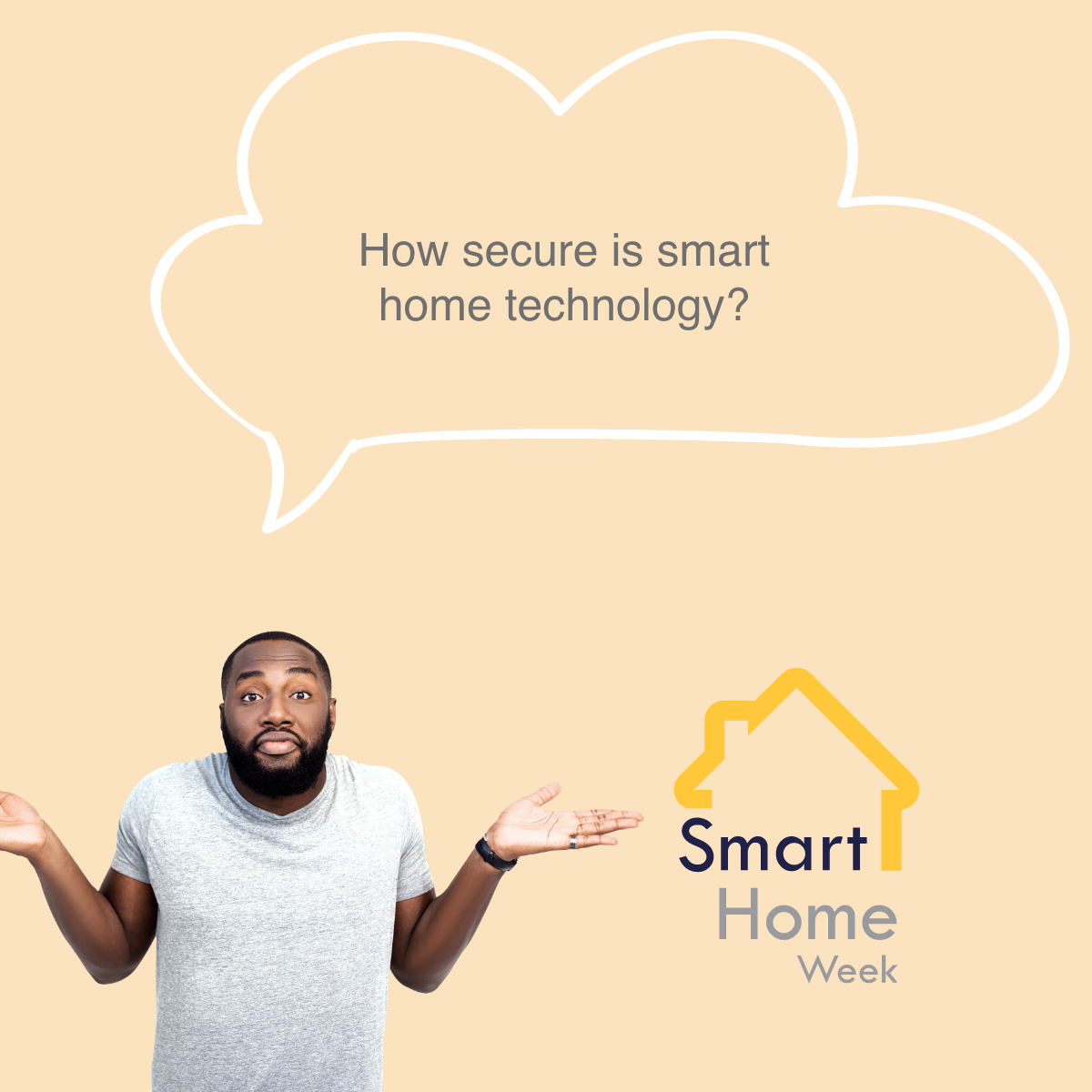 man looking confused with a speech bubble stating how secure is smart home technology